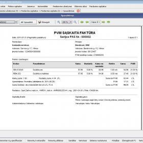 Pardavimo sąskaitos spausdinimas