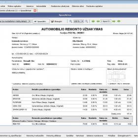 Realizavimo (automobilio remonto) užsakymo spausdinimas